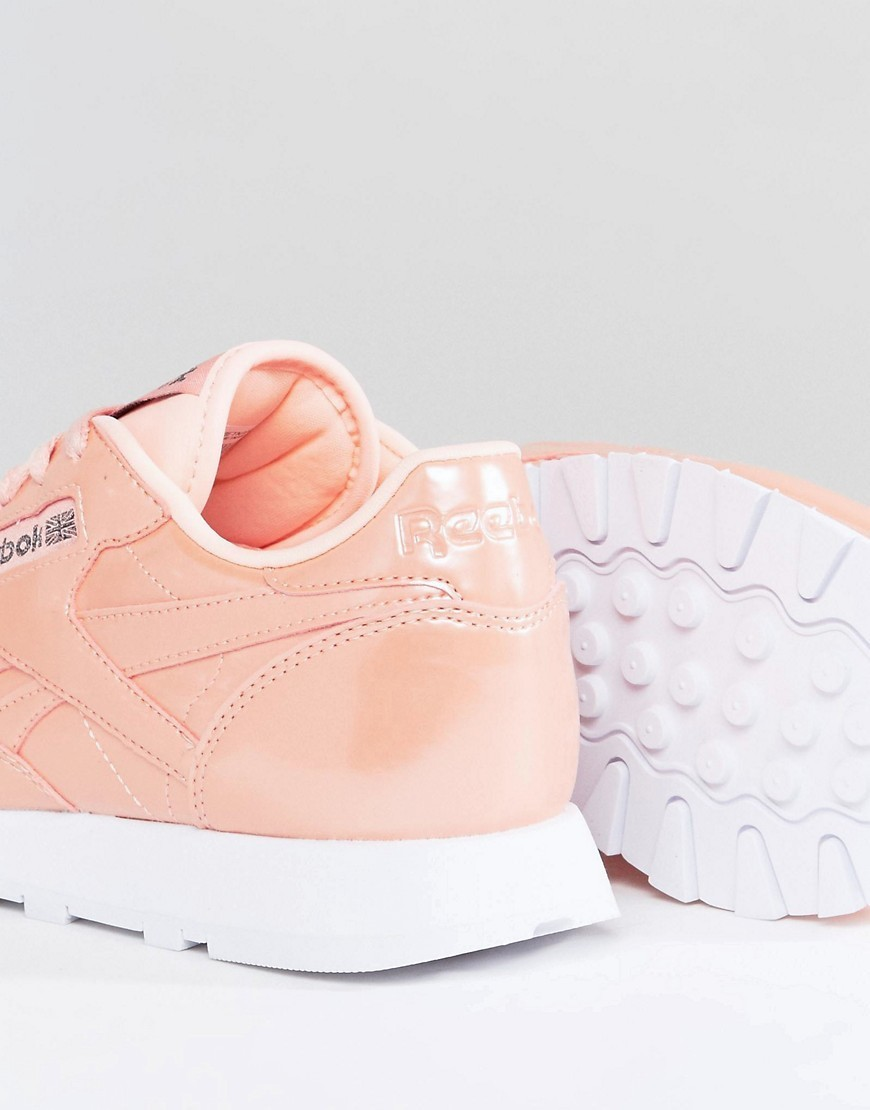 Reebok Classic Patent Pearl Leather Trainers In Pink