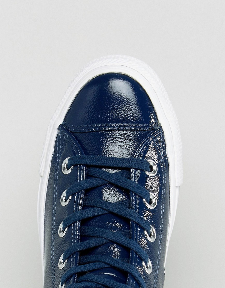 Converse Chuck Taylor High Trainers In Patent Navy