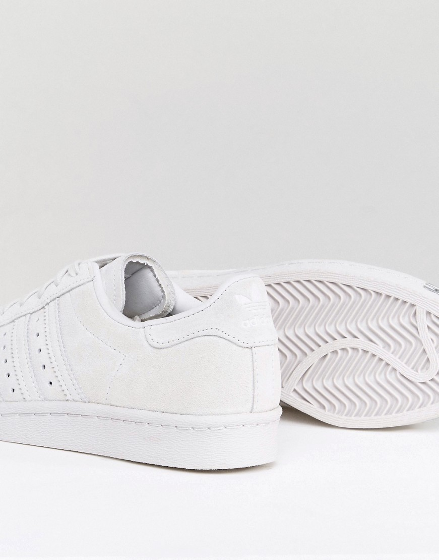 adidas Originals White Superstar 80S Trainers With Metal