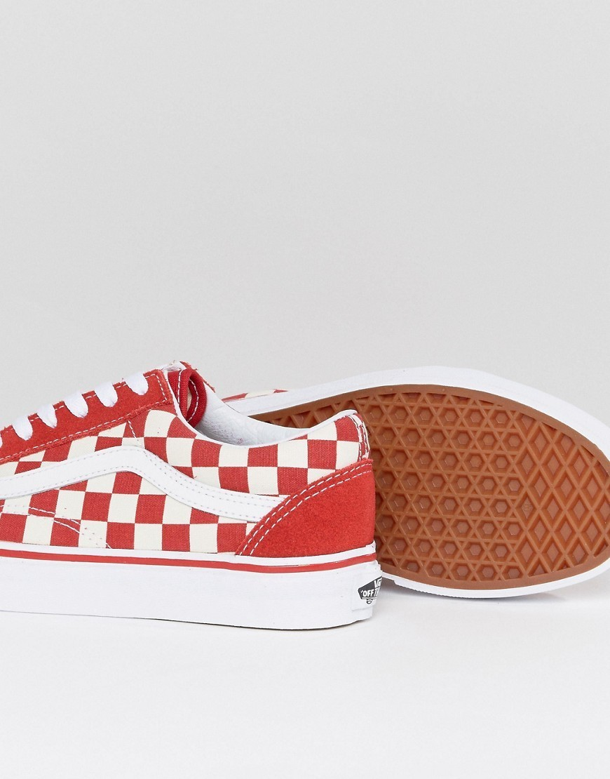 Vans Old Skool Primary Check Trainers In Red