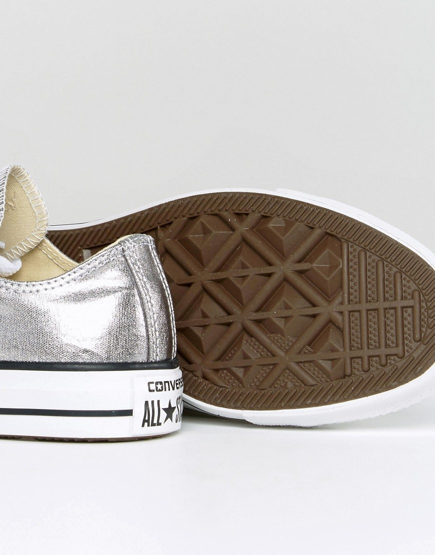 Converse Chuck Taylor Ox Trainers In Silver Metallic