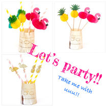 Let's Party!! トロピカルペーパーストロー&ピック*8本入り