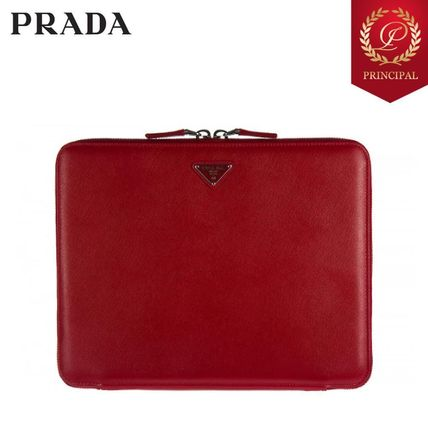 ◆PRADA プラダ 17AW Smart cover case iPadケース Red レザー
