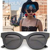 全4色*zeroUV*WOMEN'S OVERSIZE FLAT FRAME CAT EYE SUNGLAS