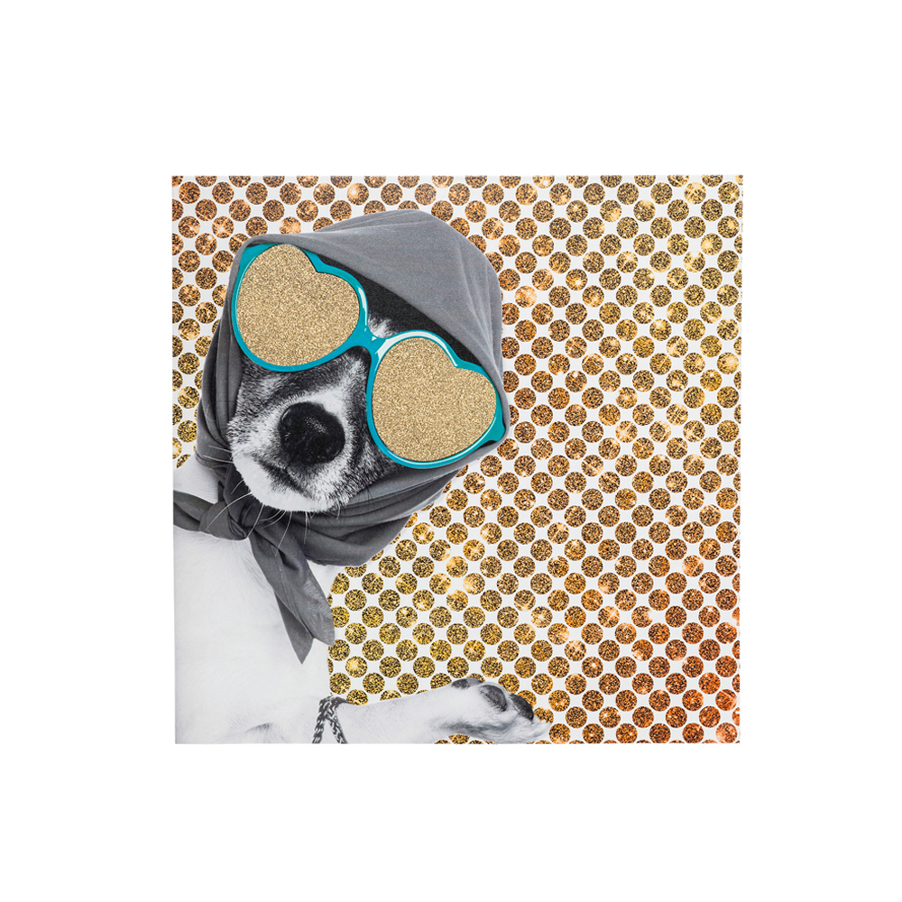(アート)Picture Shopping Lady Dog 40x40cm