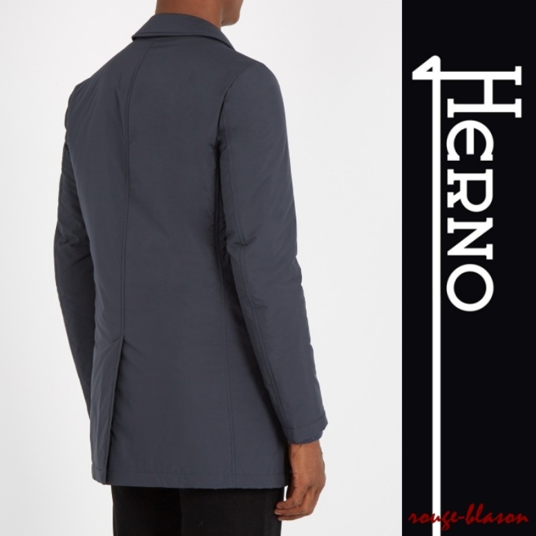 【国内発送】HERNO Detachable-placket padded nylon coat Grey