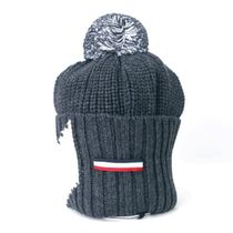 MONCLER トリコロール・タブ ウール ビーニー_Charcoal