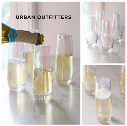Urban Outfitters☆ Iridescent Stemless Flute Glass Set Of 4