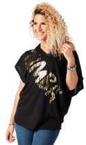 ♪Zumba ズンバThrowback Fast Dash Fancy Top-Black