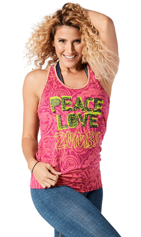 ♪Zumba ズンバThrowback Peace Love Bubble Tank-Fuchsia