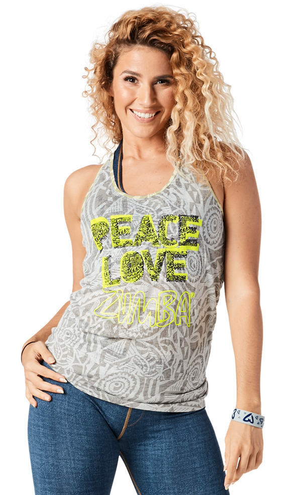 ♪Zumba ズンバThrowback Peace Love Bubble Tank-Gray
