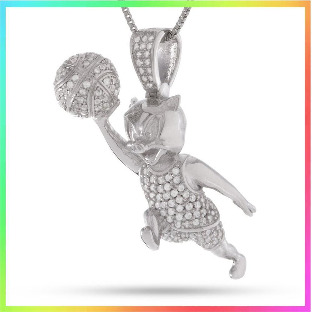 King Ice★Sterling Silver Porky Pig Necklace