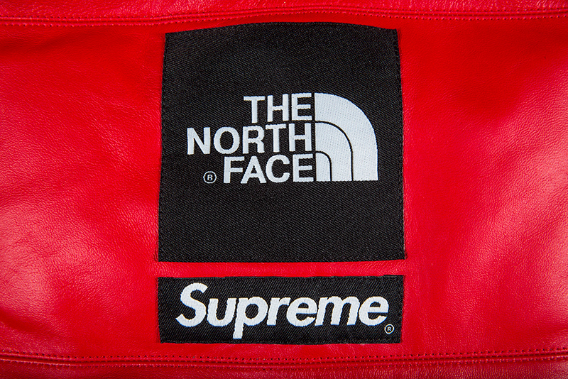 017f0af20 FW17 SUPREME THE NORTH FACE LEATHER NUPTSE JACKET RED S-XL