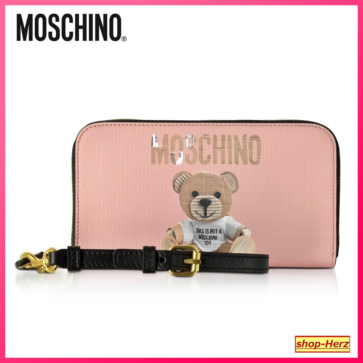 ★Moschino★ Pink Teddy Bear Saffiano Leather 長財布 関税込