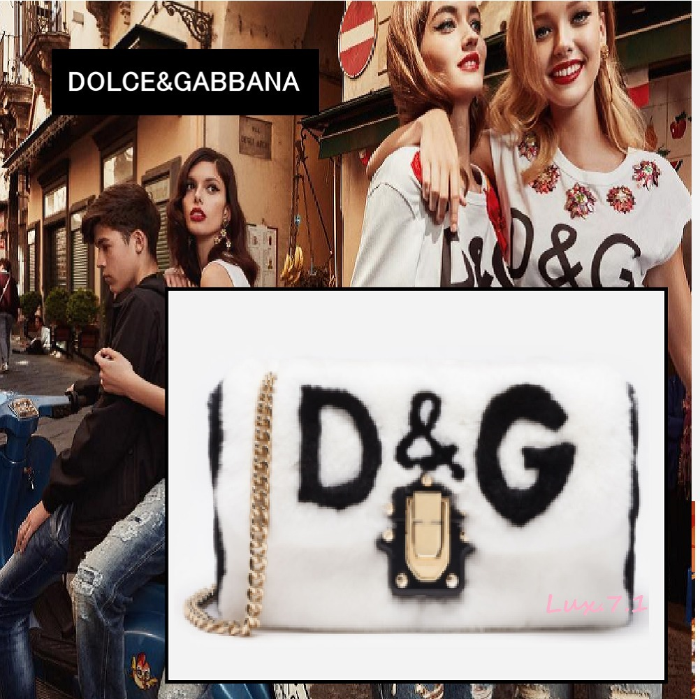 【Dolce & Gabbana】D&Gロゴ ラビットファーバッグ★2way