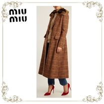 【17AW】大人気★MiuMiu★Fur-trimmed hound's-tooth wool coat