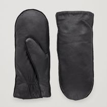 """COS""PADDED LEATHER MITTENS BLACK"