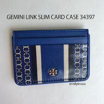 即発TORY BURCH★GEMINI LINK SLIM CARD CASE 34397*JEWEL BLUE