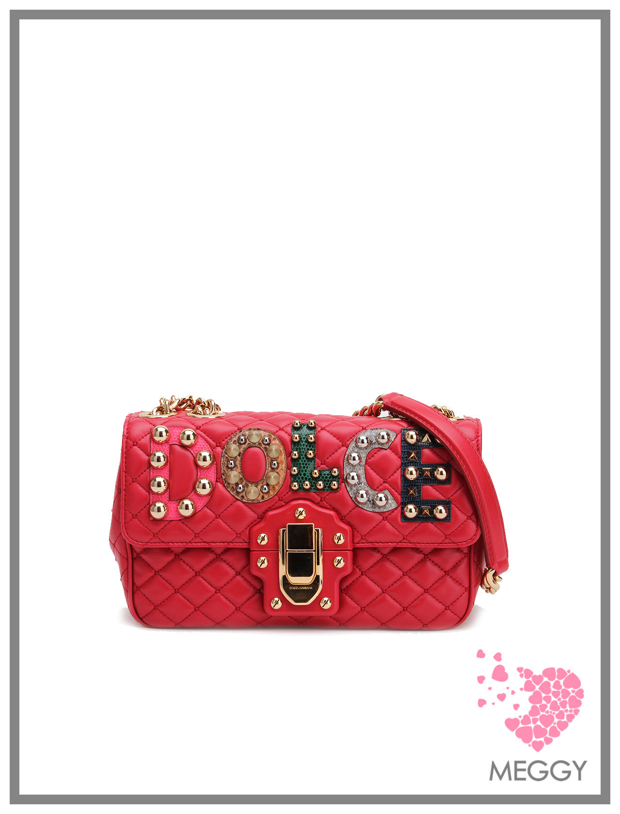 RED APPLIQUE' LUCIA ショルダーバッグ