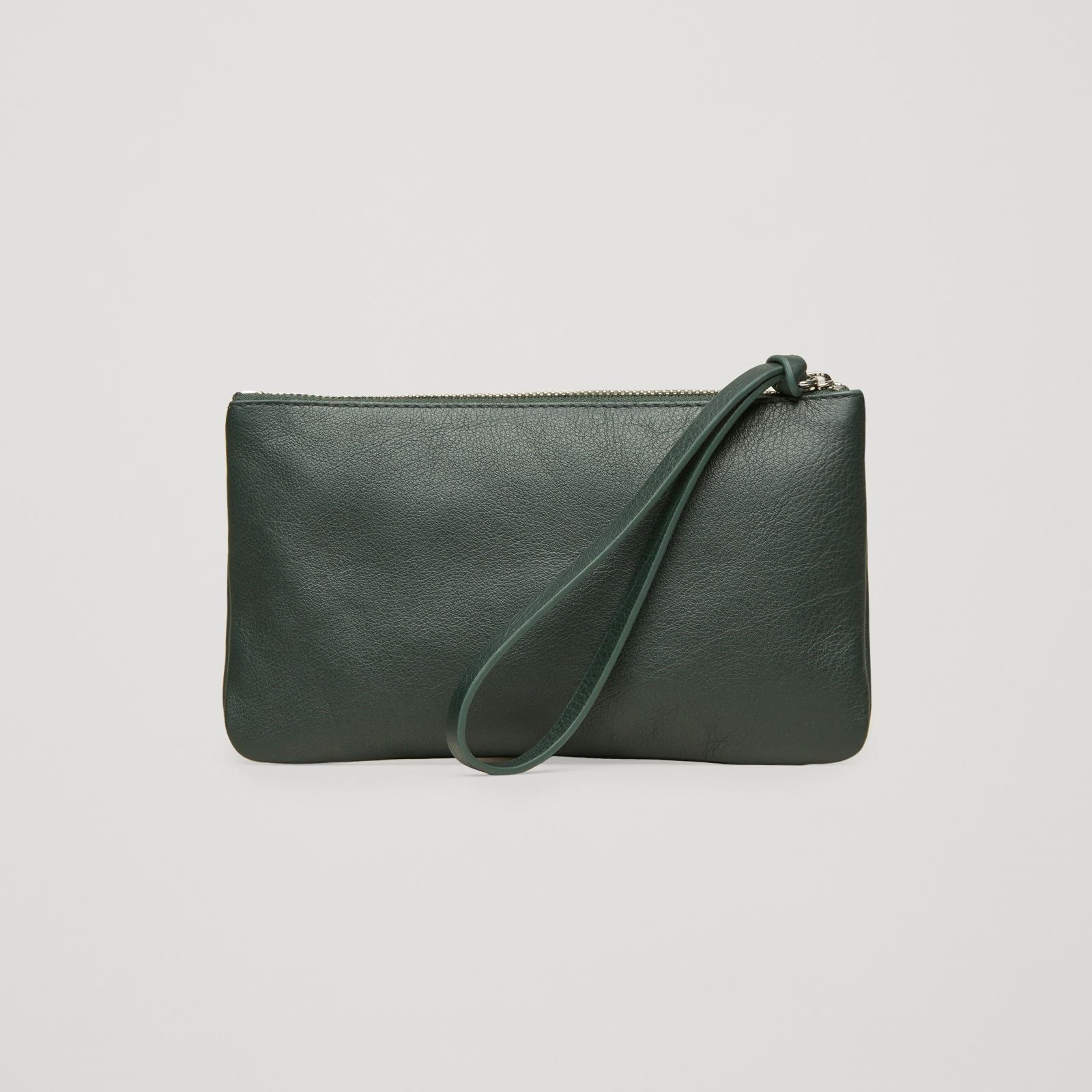 COS☆LEATHER PURSE WITH CONTRAST POCKET / green