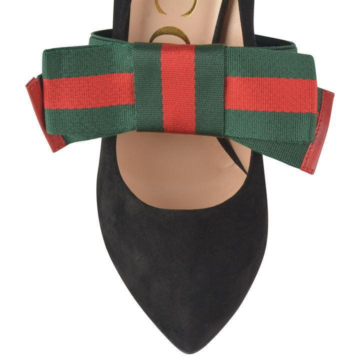 120 GUCCI removable Web bow スエード パンプス ♪送料無料♪