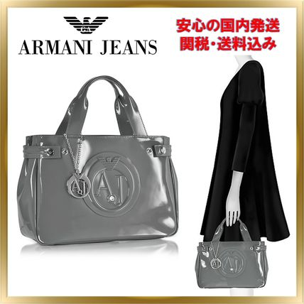 ◇ ARMANI JEANS ◇ Faux Patent Leather Tote 【関税送料込】