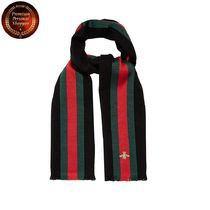 GUCCI-Bee-embroidered wool-blend scarf