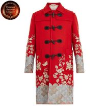 GUCCI-Floral-embroidered wool overcoat