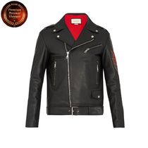 GUCCI-Blind for Love-applique leather jacket