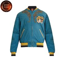 GUCCI-Dragon-embroidered corduroy bomber jacket