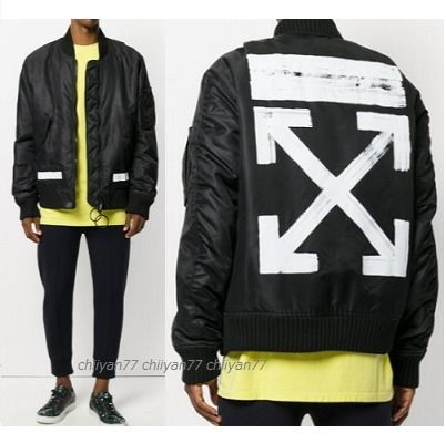 17AW★新作【off-white】bomber jacket black【関税/送料込み】