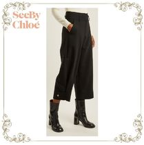 【17AW】★SEE BY Chloe★Wide-leg gabardine cropped trousers