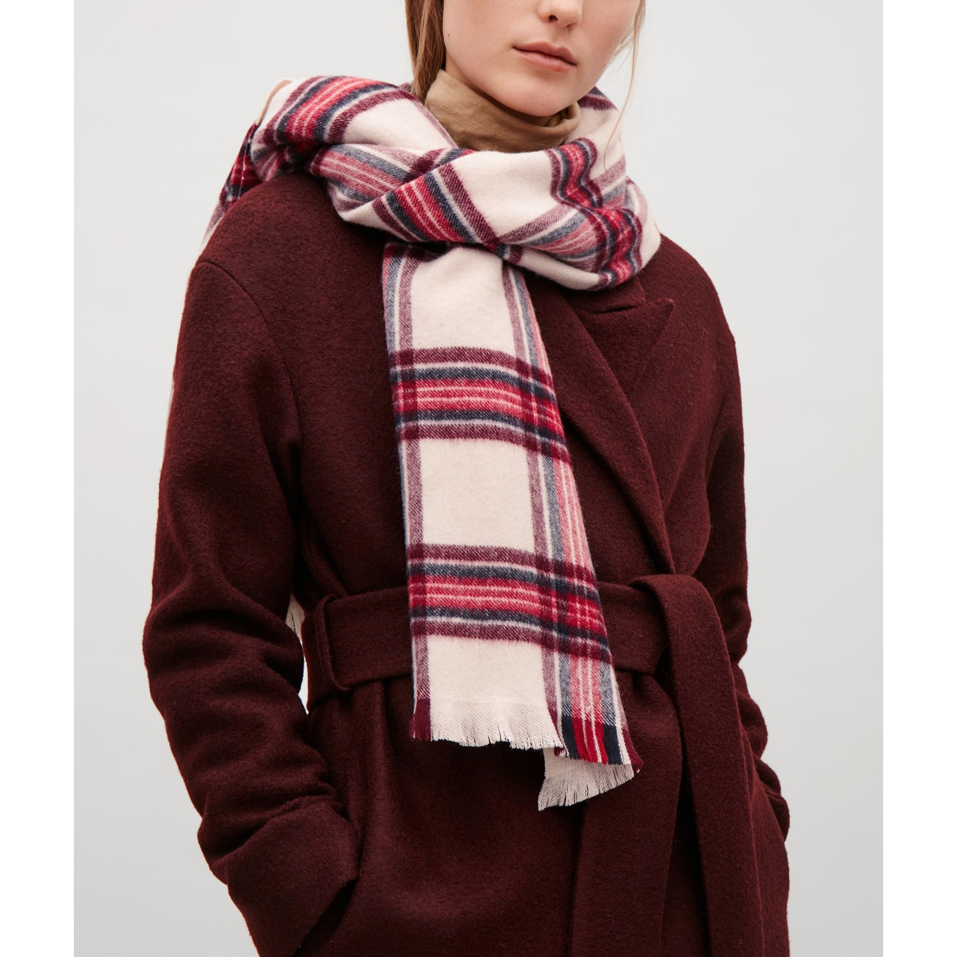 COS☆CHECKED LAMBSWOOL SCARF / red