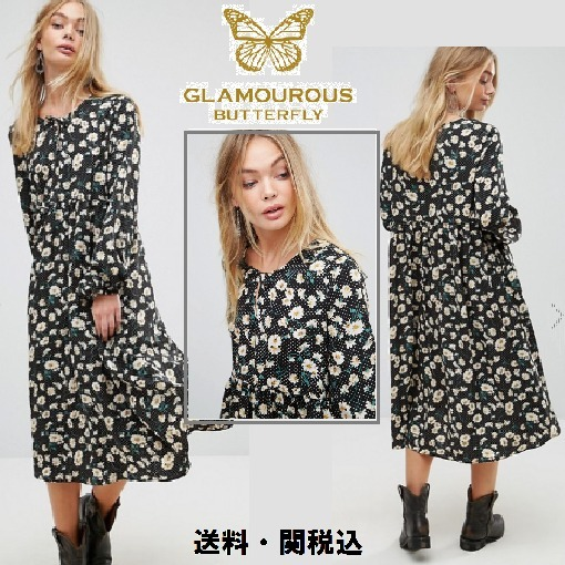 Glamorousミデイドレス In Dot Floral