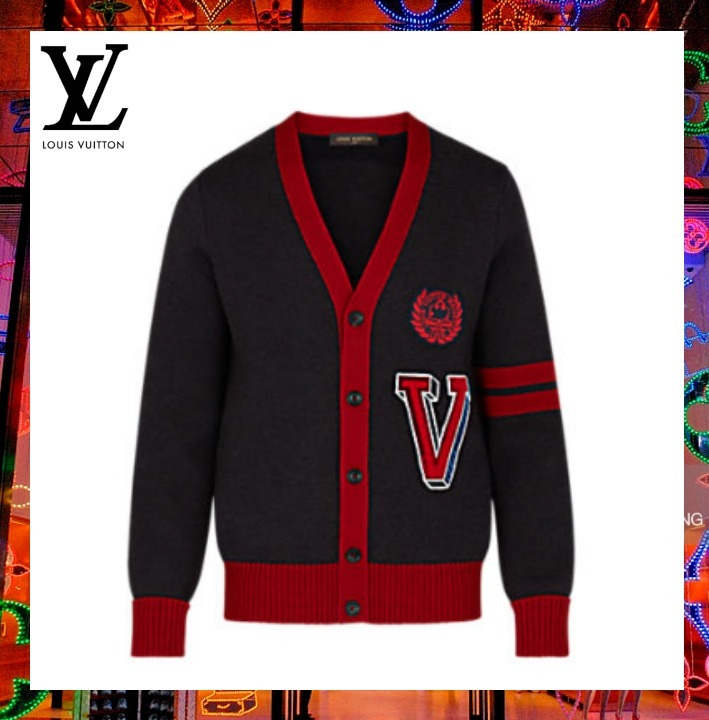 【17AW】ヴィトン カーディガン VARSITY CARDIGAN WITH PATCHES