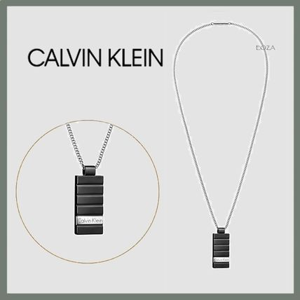 Calvin Klein☆人気!Plate☆ネックレス Silver/Black