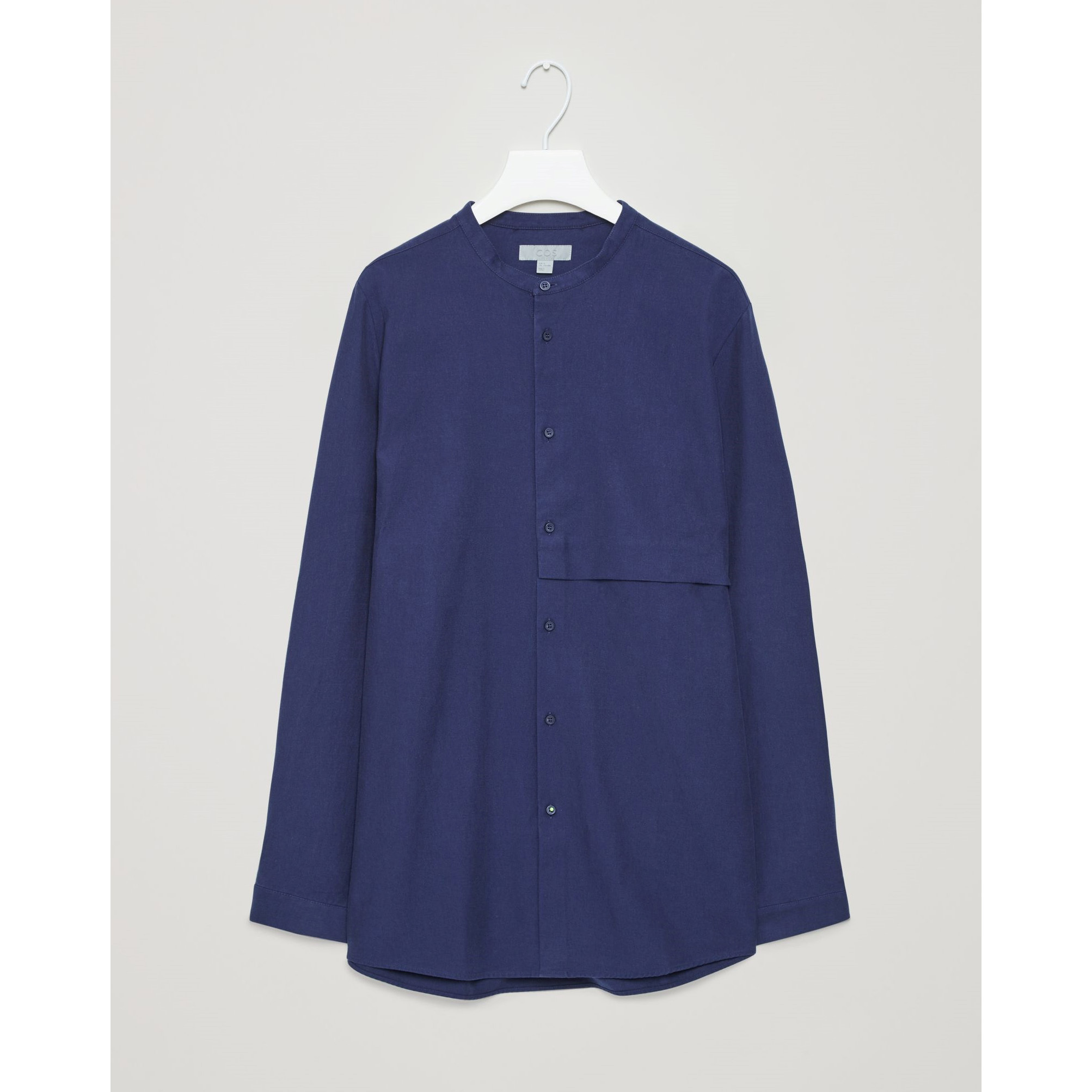 COS☆GRANDAD-COLLAR SHIRT WITH HIDDEN POCKET / navy