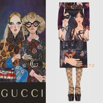 【GUCCI】 sophie and george☆シルク Aラインスカート ブラック