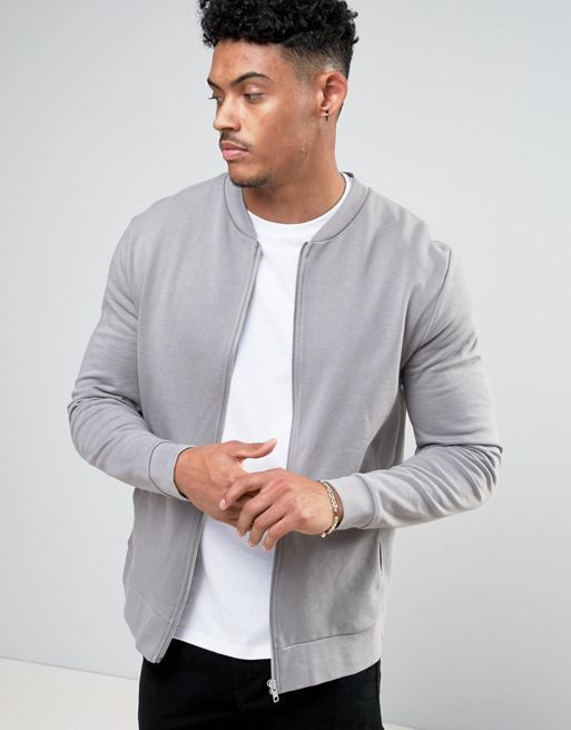 送料込 ASOS Jersey Bomber Jacket In Grey エイソス
