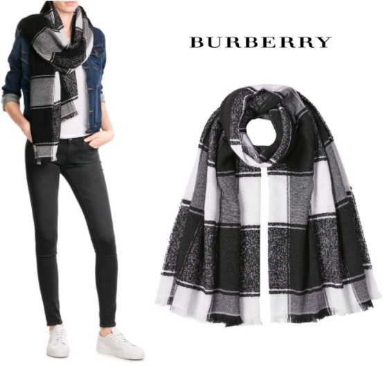 【BURBERRY】チェック柄 カシミア ストール with シルク