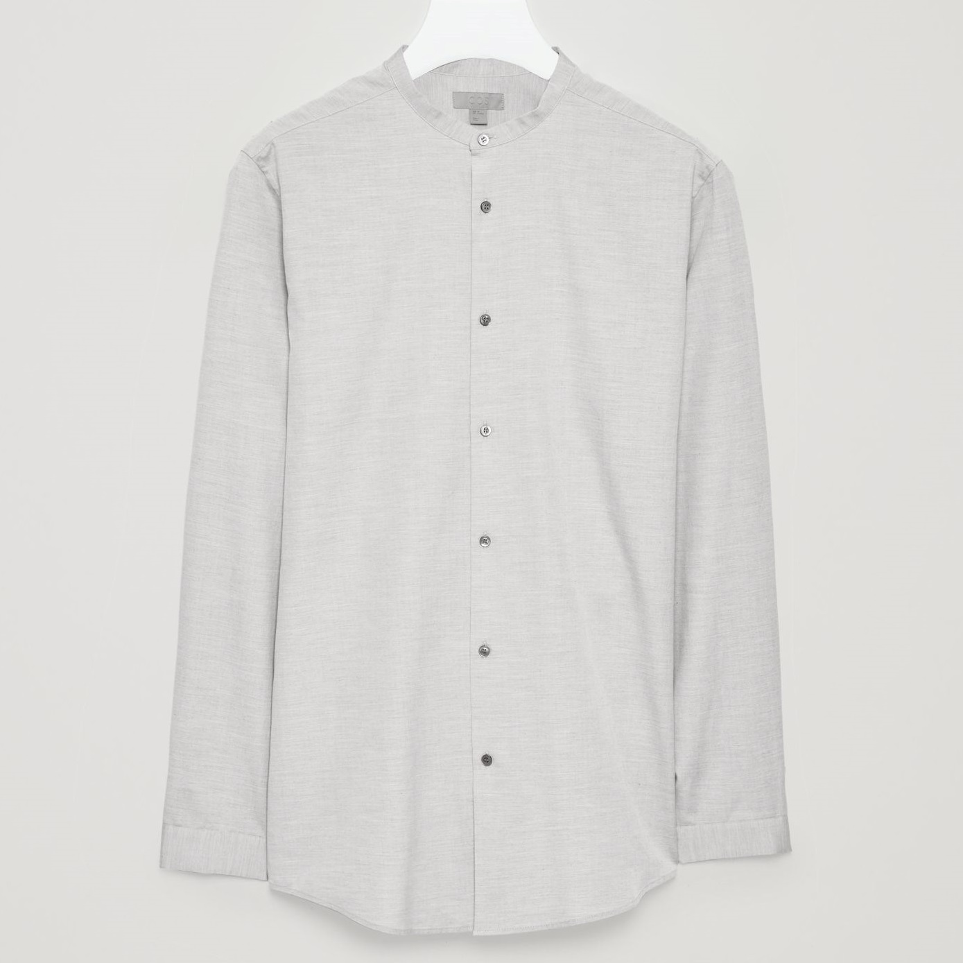"""COS MEN""GRANDAD-COLLAR SILK-BLEND SHIRT LIGHTGRAY"