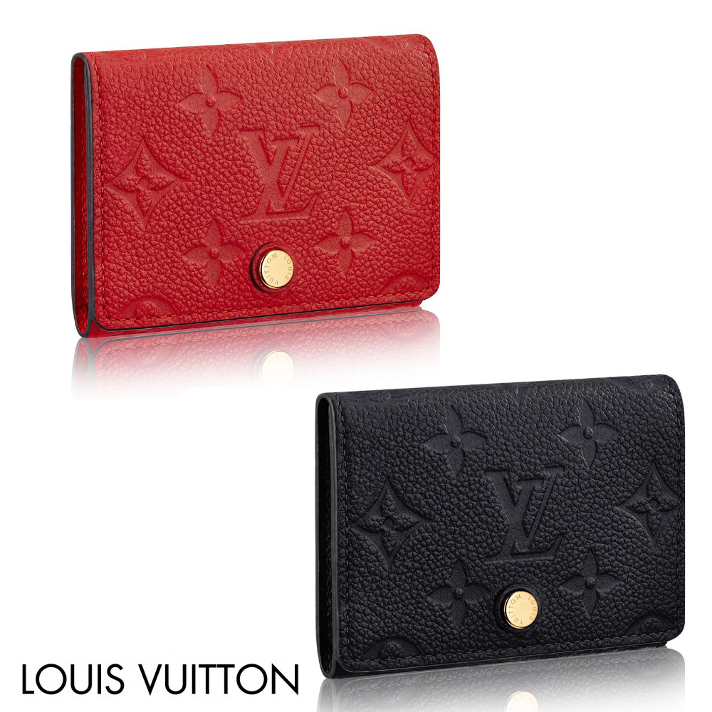 Louis vuitton 2017 18aw embossed monogram leather business card louis vuitton card holders embossed monogram leather business card holder blackred colourmoves