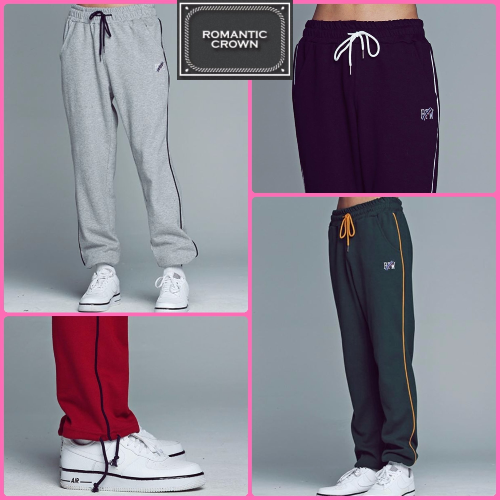 【ROMANTIC CROWN】正規品★Piping Sweat パンツ 4色/追跡送料込