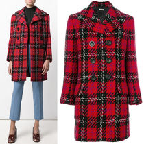 MM360 DOUBLE BREASTED PLAID TWEED COAT