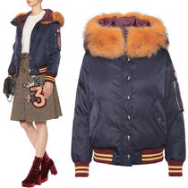 MM362 FUR TRIMMED DOWN JACKET WITH APPLIQUE