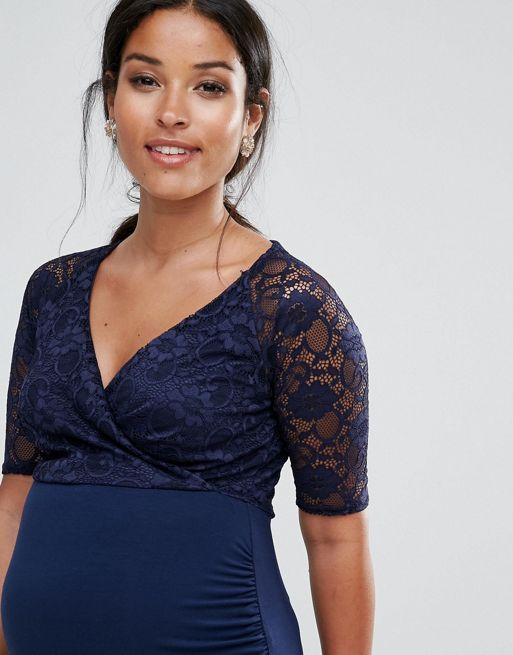 ☆ASOS Maternity NURSING Lace Wrap Bodycon Midi Dress☆