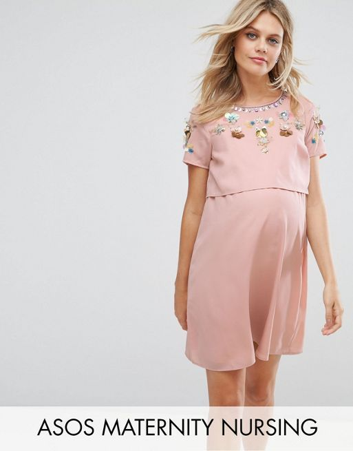 ☆ASOS Maternity NURSING Embellished Flower Double Layer D☆