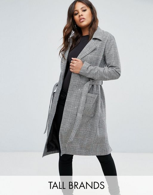 ☆Missguided Tall Check Tie Waist Trench Coat☆