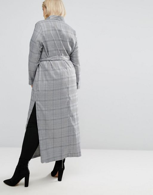 ☆Missguided Plus Longline Check Duster Jacket☆