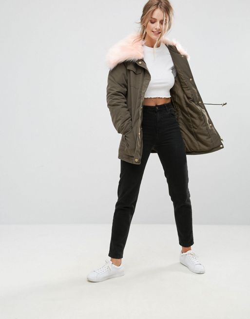☆Missguided Faux Fur Collar Parka Coat☆